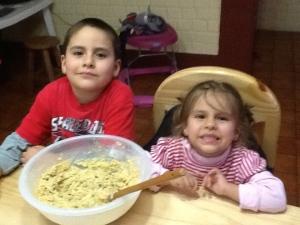 Santi and Adri baking