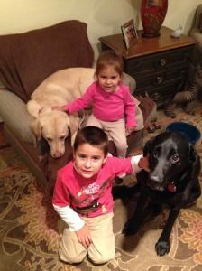 Santi and Adri with Luna and Beanie