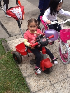 Adri on tricycle
