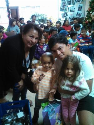 Family distributing gifts