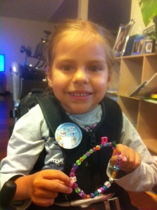 Adri shows off her bracelet